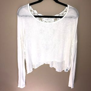 abercrombie & fitch white lightweight long sleeve